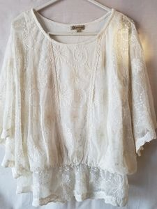 Democracy Flutter Sleeve Lace Blouse